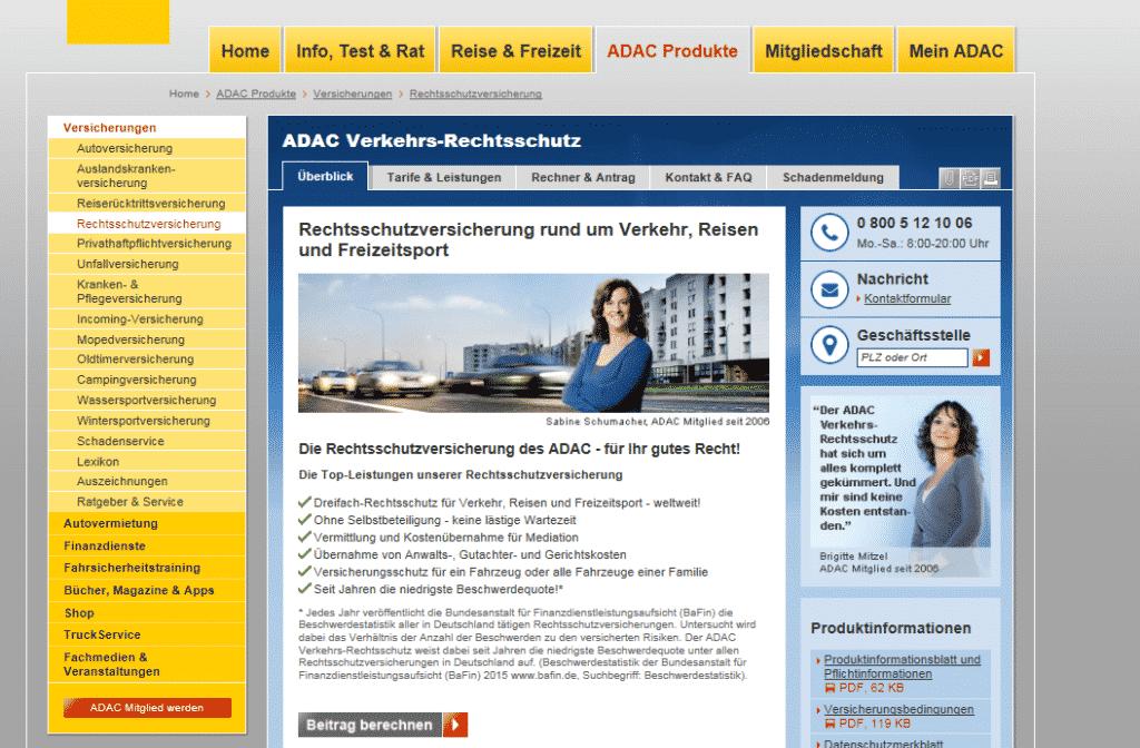 Die Webseite der ADAC Rechtschutzversicherung