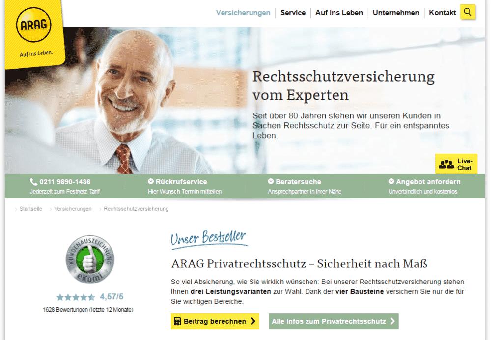 Die Webseite von ARAG