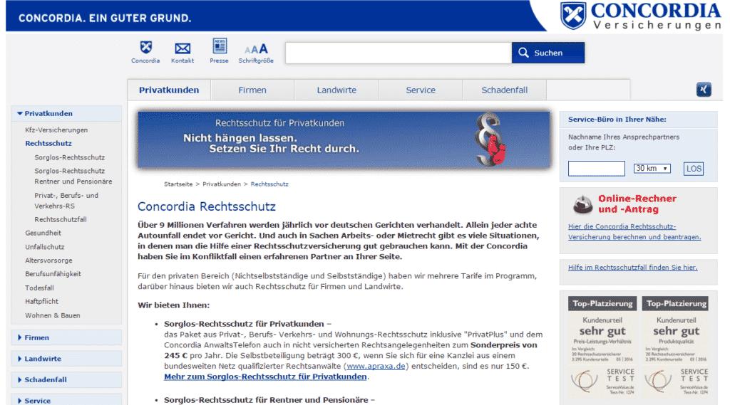 Die Webseite der Concordia