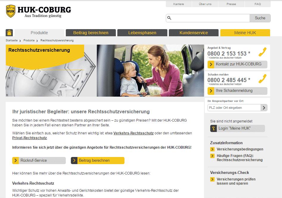 Die Webseite der HUK Coburg