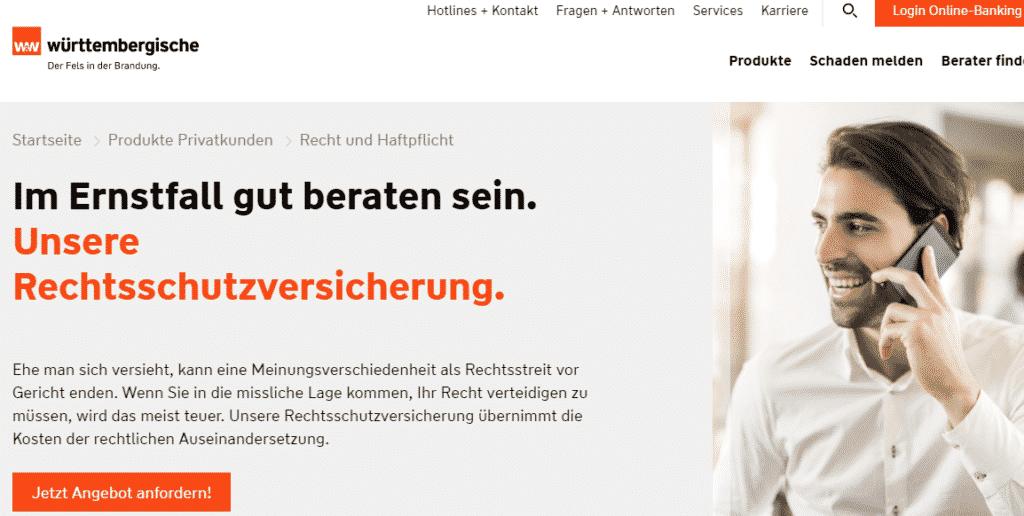 Die Webseite der Württembergischen
